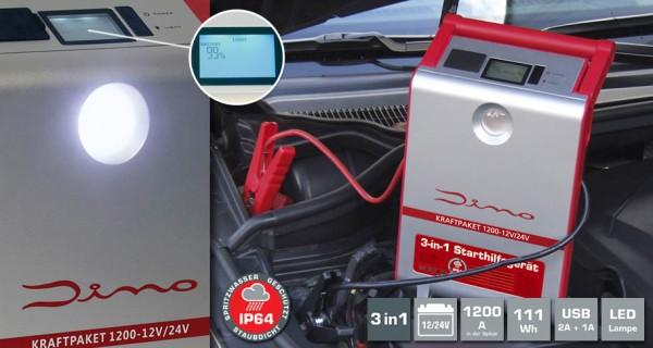 DINO KRAFTPAKET Starthilfegerät mit Powerbank 12/24V · 1.200A