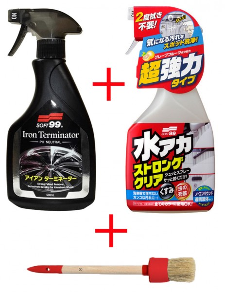 Soft99 Iron Terminator Felgenreiniger + Stain Cleaner Lackreiniger + Pinsel SET 500 ml